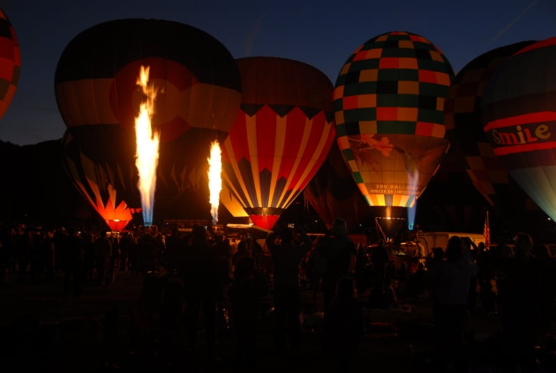 Snowmass (Hot Air) Balloon Festival At night with flames