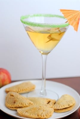 mini pork empanadas with an apple martini