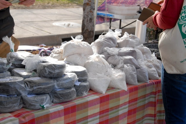 blue tortillas and flour in bags