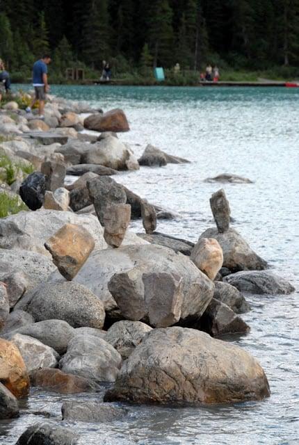 Rock sculptures on Lake Louise