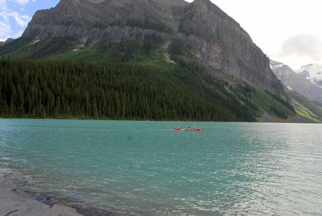 red canoe on Lake Louise