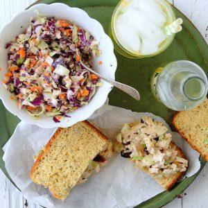 chicken salad sandwich with lemonade