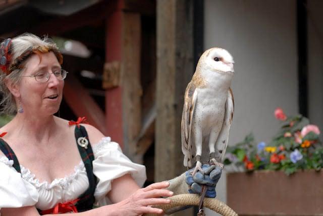 A woman holding a barn owl