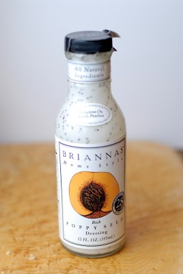 A close up of a Briannes salad dressing bottle