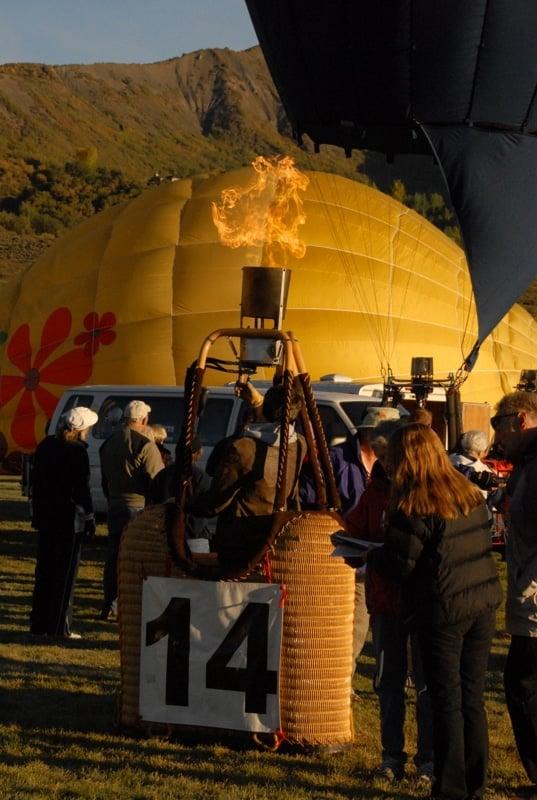 Inflating hot air balloons