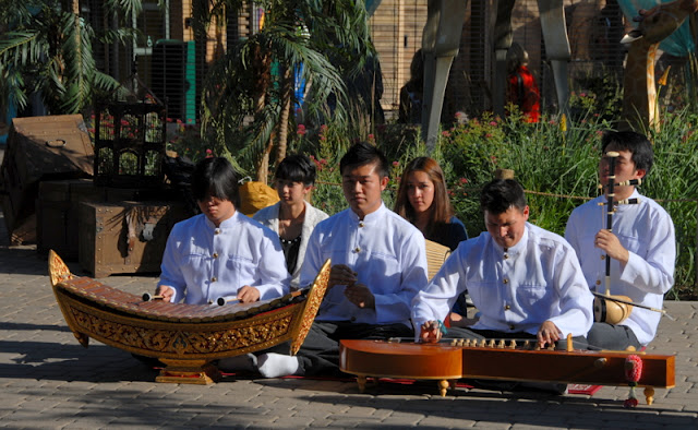 A group of people playing instruments