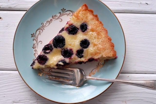 slice of raspberry tart on plate