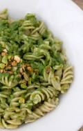 Toasted Pistachio Arugula Pesto with Brown Rice Fusili Pasta (gluten free)