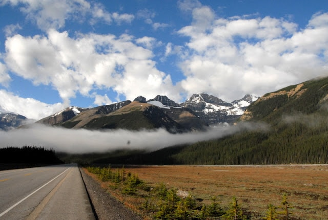 view of Canadian Rockies with clouds