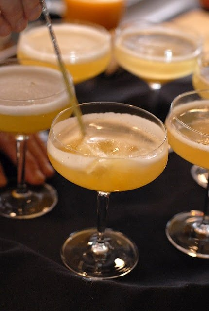 Peach bellinis on tray