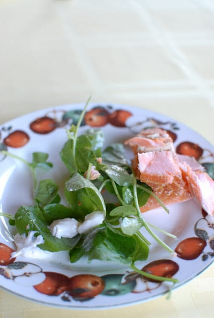 A plate of food, with Salad