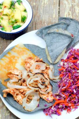 quesadilla, colorful slaw and pineapple salsa