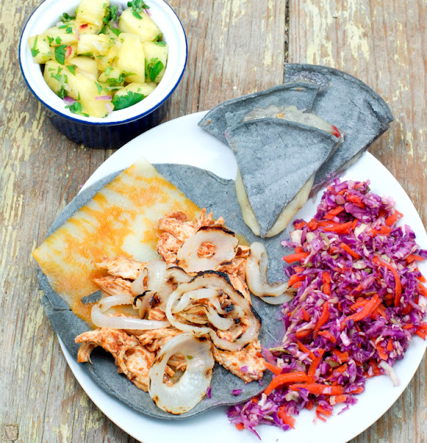 Simple Supper: Chipotle Chicken soft tacos, Pepper Jack Quesedilla, Pineapple Salsa and Slaw