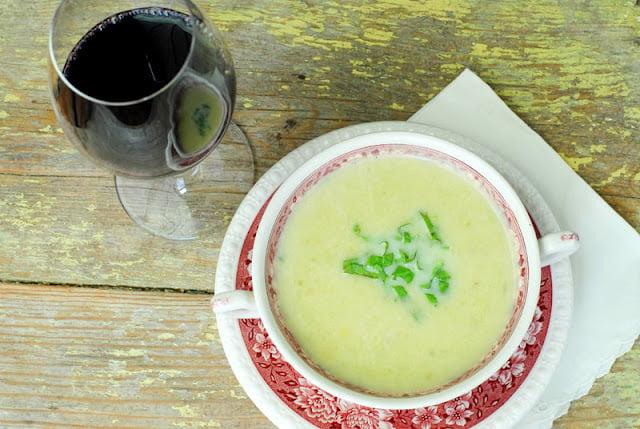 Green Garlic Baby Leek Potato Soup with Brandy