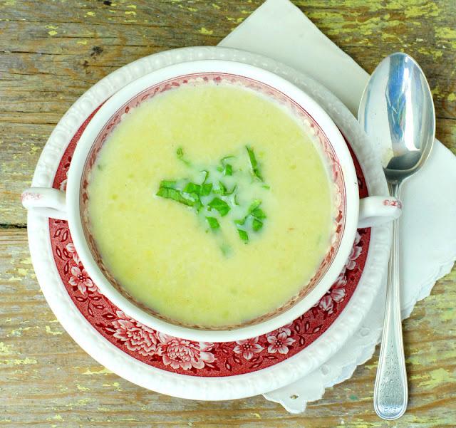 green garlic baby leek potato soup