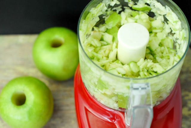 chopped apples in food processor