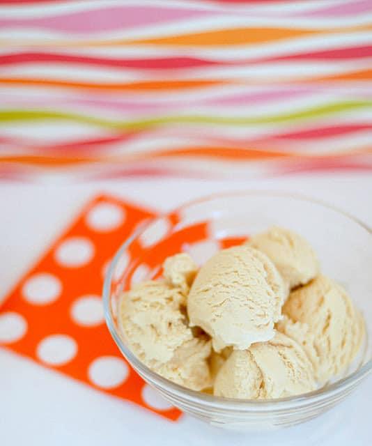 caramel apple ice cream in bowl