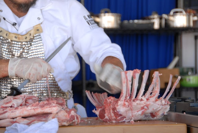 chef carving ribs