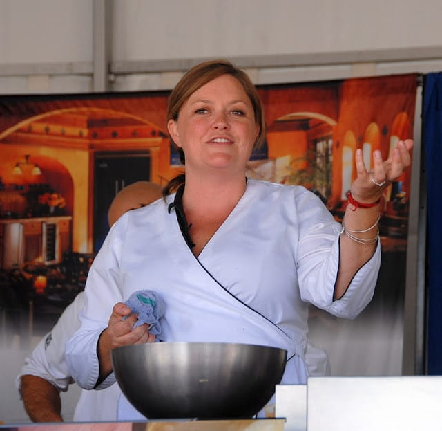 chef demonstration making salad at snowmass culinary festival
