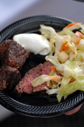 Grilled Coffee-Rubbed Bison Tacos and Apple Green Cabbage Slaw