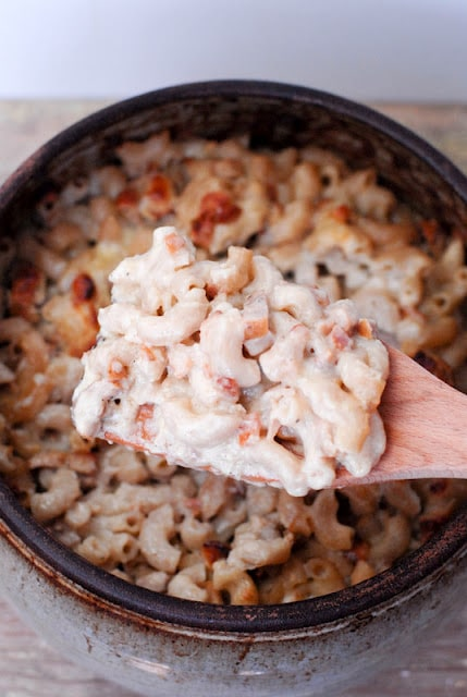 Homemade Macaroni and Cheese with Chicken-Apple Sausage and Bacon