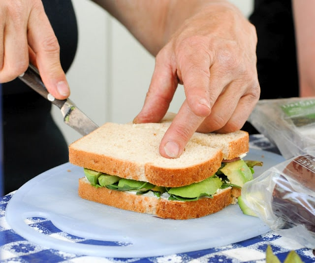 cutting sandwich