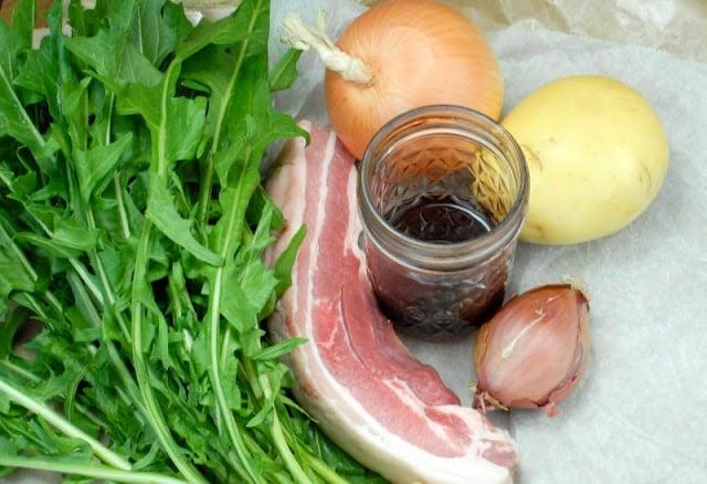 ingredients for Dandelion Salad