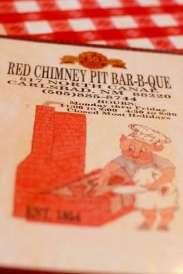 Red Chimney Pit BBQ menu
