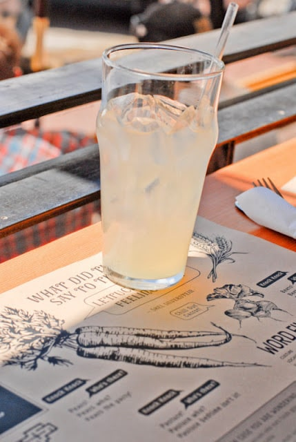 A cup of lemonade on a table