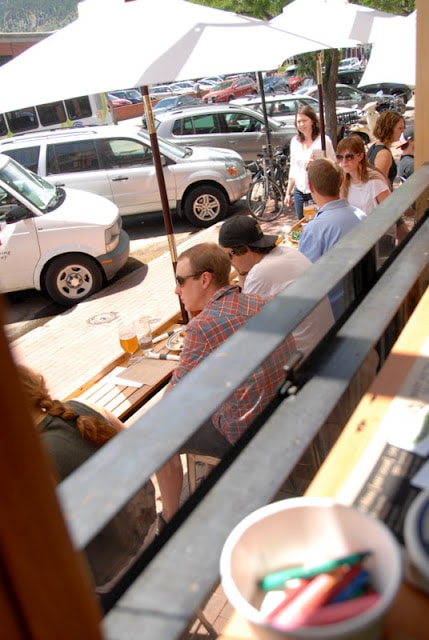 A group of people dining outside