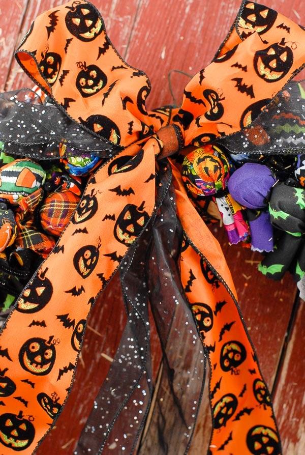 Halloween Trick or Treat wreath ribbon