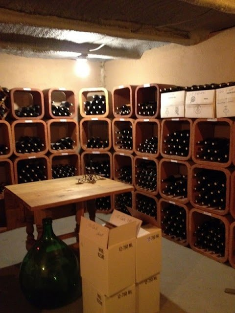 Wine bottles in a cellar