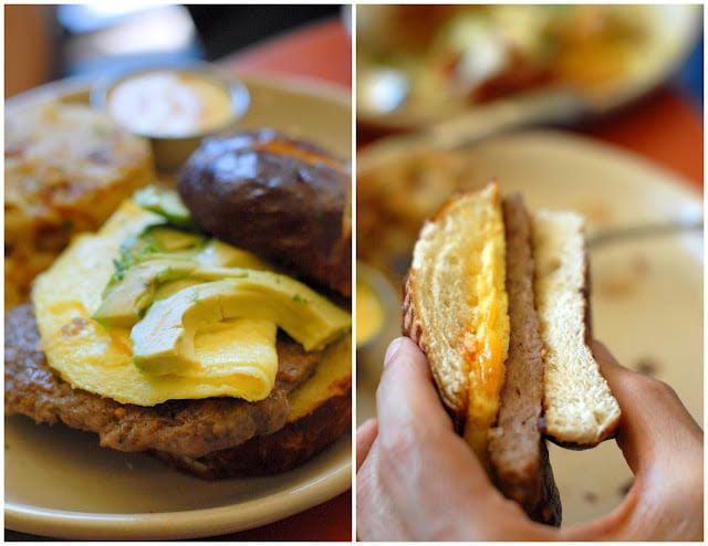 A close up of food on a plate, with Breakfast sandwich