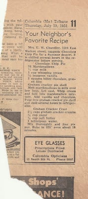 old newspaper clipping of cherry pie recipe