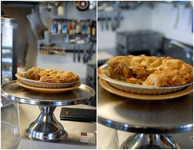 pie on a cake stand