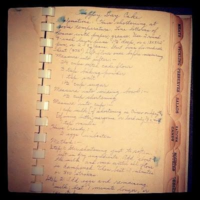handwritten happy day cake recipe