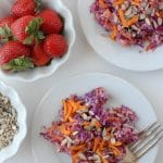 Crunchy Confetti Slaw with Strawberry-Peach Balsamic Dressing