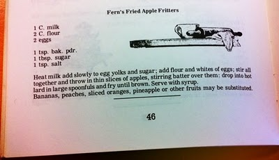 vintage apple fritter recipe from cookbook