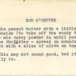 Bad TV and an Vintage 'Hor D'Oeurve' Recipe