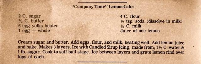vintage lemon cake recipe
