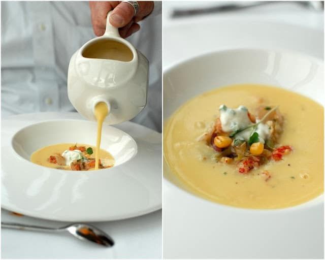 2 photo collage with white bowl of corn chowder pouring into bowl from white pitcher, bowl of chowder with tomato and toppings on right