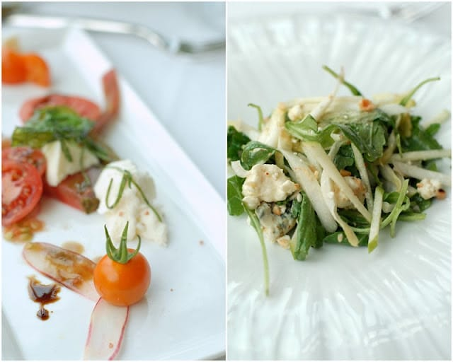 2 photo collage: close up of cherry tomato and sliced radish salad (on left)apple arugula goat cheese slaw on right