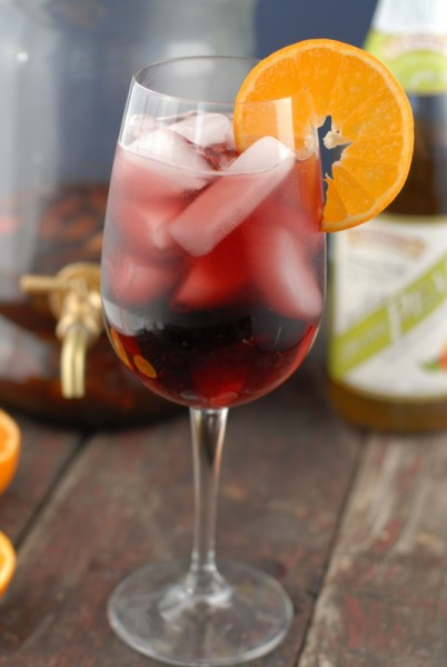 Red sangria glass with ice