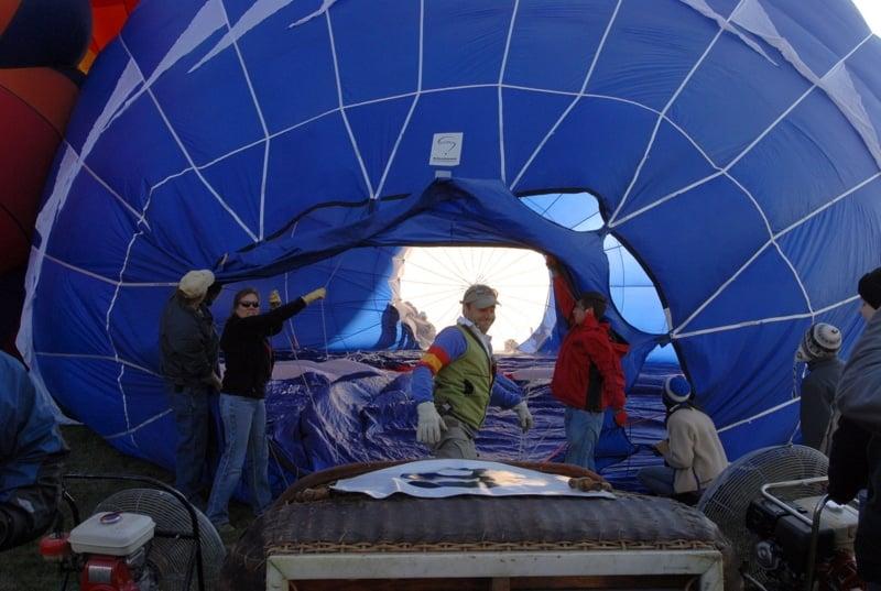 Liking inside a blue hot air balloon