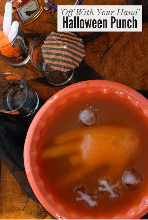 Halloween Punch with floating ice hand in punch bowl title