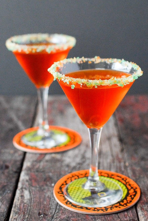 Candy Corn Martini with Pop Rocks Rim. Homemade DIY Candy Corn and Vanilla Vodka make this Halloween martini buttery without being overly sweet. A Pop Rocks glass rim make it a party! BoulderLocavore.com