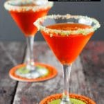 Candy Corn Vodka Martini with Pop Rocks rim