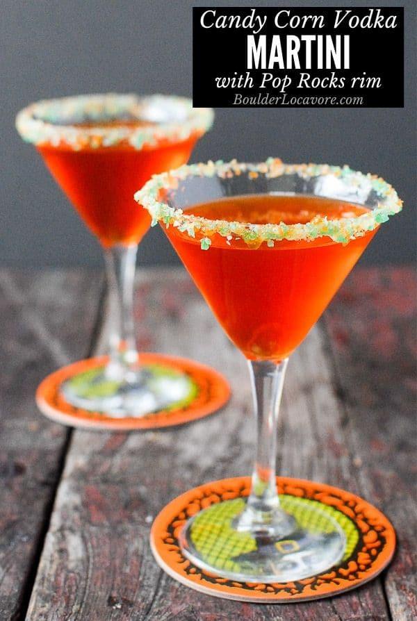 candy corn vodka martini with pop rocks rim