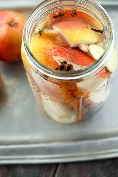 Homemade Spiced Pear Vodka Infusion in Mason jar