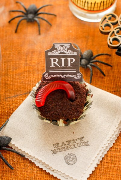Graveyard Cupcake with Gummy Worm and printable tombston - BoulderLocavore.com